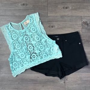 Hollister Lace Sheer Crochet Crop Top size small